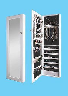 Mirrored Jewelry Armoire Cabinet Storage Wall Mount Hang Over The Door Case Box