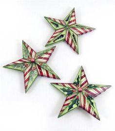 Dimensional Christmas Star Ornaments E-Pattern Folded Fabric Ornaments, Fabric Christmas Ornaments, Diy Christmas Garland, Quilted Ornaments, Burlap Christmas, Christmas Crafts, Christmas Stars, Christmas Quilting, Paper Ornaments