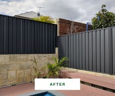 Worn-out fence spoiling your garden? We turn tired Perth fences into modern backdrops. See our fence spray paiting makeovers. Sheet Metal Fence, Metal Fence Panels, Backyard Fences, Backyard Ideas, Site Design, Perth, Backdrops, House Design, Patio