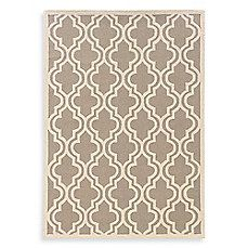 image of Linon Home Silhouette Collection Quatrefoil Rug in Grey/White