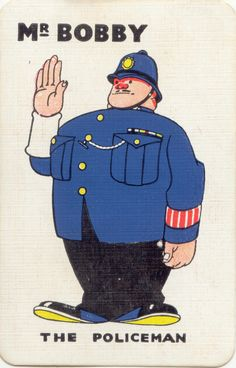 Mr Bobby the policeman Vintage playing card illustration Art Illustration Vintage, Vintage Playing Cards, Collages, Vintage Comics, Guy Pictures, Cute Art, Painting Prints, Illustrations Posters, My Drawings