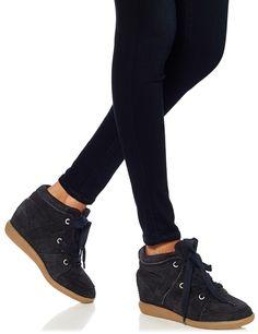 Black Suede Bobby Wedge Sneakers