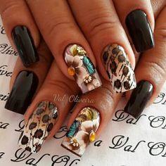 Different nail by Val Oliveira. Unghie different di Val Oliveira. Nails & Co, Get Nails, Precious Nails, The Art Of Nails, Cheetah Nails, Wedding Nails Design, Pretty Nail Art, Glitter Nail Art, Powder Nails