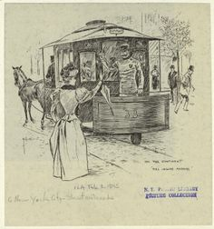 Woman wishing to board horse railroad car, New York City.