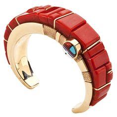 Wes Willi (Navajo) 14kt. Gold and Coral Bracelet