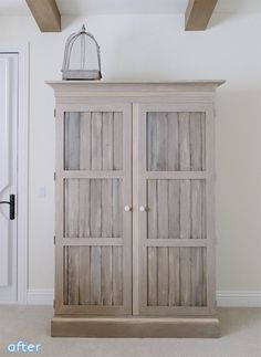 Love love this door idea & finish for my vintage armoire Rustic Bedroom Furniture, Upcycled Furniture, Furniture Projects, Home Furniture, Furniture Online, Furniture Stores, Kitchen Furniture, Luxury Furniture, Bookshelf Makeover