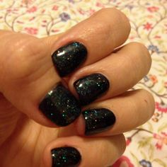 Shellac manicure with Shellac Black Pool and Shellac Mother of Pearl on top