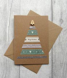 Simple Christmas Cards, Ribbon On Christmas Tree, Christmas Card Crafts, Homemade Christmas Cards, Homemade Cards, Holiday Cards, Christmas Crafts, Christmas Christmas, Green Ribbon