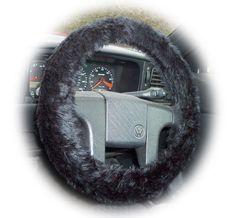 Black steering wheel cover faux fur furry fluffy fuzzy Punk Goth Emo car truck van halloween ebony coal rock rocker punky