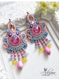 Soutache Pastel Beaded Earrings With Swarovski Crystals