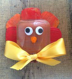 TEMPLATE INCLUDED! Make this fun turkey craft from recycled baby food jar and cereal box. Easy-to-make, Thanksgiving festive, and inexpensive. - repinned by @PediaStaff – Please Visit ht.ly/63sNtfor all our pediatric therapy pins