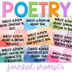 20 poetry Journal Prompts to help students with ideas for writing poetry. High School Classroom, Elementary Teacher, Elementary Education, Teacher Pay Teachers, Poetry Journal, Journal Prompts, Reading Resources, Teacher Resources, Teaching Ideas