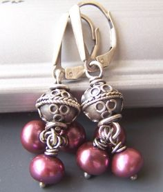 Rougette Mauve Pink Earrings Pearl Sterling Silver Boutique Jewelry