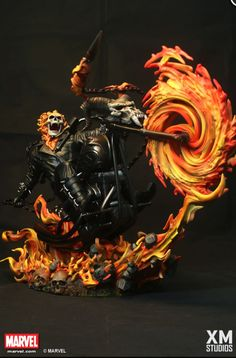 Ghost Rider who is a supernatural superhero with amazingly detailed scale cold-cast porcelain, brought to us by XM Studios available for pre-order now. Marvel Art, Marvel Heroes, Marvel Comics, Ms Marvel, Captain Marvel, Sideshow Statues, Ghost Rider Wallpaper, Spirit Of Vengeance, Marvel Statues