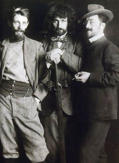 Vasily Kandinsky (right), Dmitry Kardovsky (center), A. Seddeler (left) in the Azbe-Schule, Munich, c.1897
