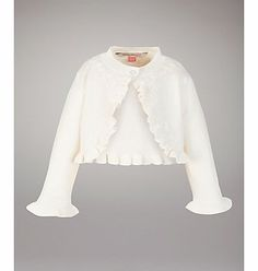 John Lewis Ruffle Shrug Cardigan This pretty ruffle trimmed cardigan will look great layered over a dress or teamed with jeans. http://www.comparestoreprices.co.uk/baby-clothing/john-lewis-ruffle-shrug-cardigan.asp