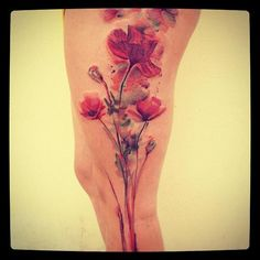 Watercolor flowers on leg by Ondrash