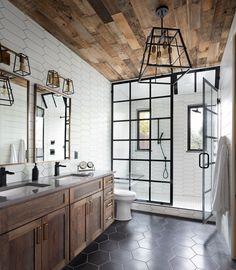 Caged Lighting Sconce and Pendant Industrial bathroom decor ideas via Forte Design Studios Bad Inspiration, Bathroom Inspiration, Dream Bathrooms, Amazing Bathrooms, Luxurious Bathrooms, Master Bathrooms, Rustic Master Bathroom, Modern Farmhouse Bathroom, Master Bath Layout