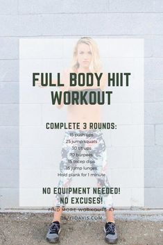 HIIT workout that can be completed at home with no equipment! HIIT workout that can be completed at home with no equipment! Pilates Workout Routine, Fitness Workouts, Full Body Hiit Workout, Hitt Workout, Pilates Training, Hiit Workout At Home, Home Exercise Routines, Yoga Routine, At Home Workouts