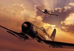 Aviation Art: US Navy Marine Corps F4U-4 Corsair