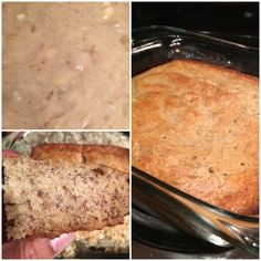 Super Easy Recipe--Banana Nut Bread: 3-4 super ripe bananas, 1 beaten egg, 1 cup sugar, 1/3 cup butter, 1 tsp baking soda, 1 tsp vanilla extract, 1.5 cup flour. You can hand mix all in one bowl. Bake on 350 in 4x8 pan for 45-50 mins. Wah-lah