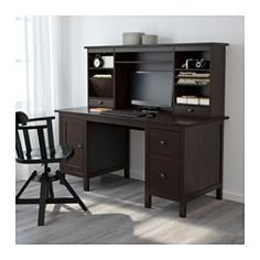 "HEMNES Desk with add-on unit, black-brown - 61x53 7/8 "" - IKEA 400.00_Imagine with art above"