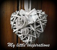 Shabby   heart wreath with fabric roses
