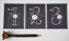 Hand Painted chalkboard inspired table numbers.