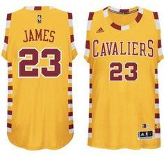 #23 Adidas Swingman LeBron James Men's Gold NBA Jersey - Cleveland Cavaliers Hardwood Classic