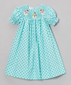 Take a look at this Turquoise Dot Snowman Bishop Dress - Infant, Toddler & Girls by Petite Palace on #zulily today!