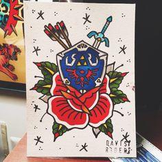 New Traditional Games Tattoo Ideas Gamer Tattoos, Badass Tattoos, Love Tattoos, Body Art Tattoos, Fandom Tattoos, Tatoos, Legend Of Zelda Tattoos, Traditional Games, American Traditional
