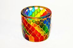 Hey, I found this really awesome Etsy listing at https://www.etsy.com/listing/212376993/rainbow-candle-holder-painted-multicolor