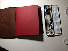Midori-style sketchbook: inside the front cover (urbanspinner) Tags: sketching sketchbooks sketchkit