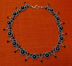 Silver blue and black lace necklace (Palace Pearl necklace )