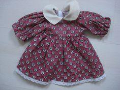 Puppenkleid, älteres Kleid f. Puppen, rotbunt