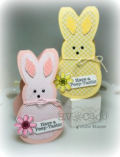handmade Easter cards ... Peep shaped bunnies ... one pink and one yellow ... adorable!!