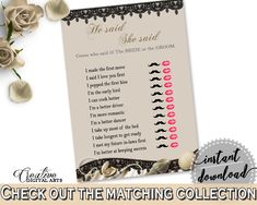 Seashells And Pearls Bridal Shower He Said She Said Game in Brown And Beige, guess who said it, seashells shower, printable files - 65924 #bridalshower #bride-to-be #bridetobe