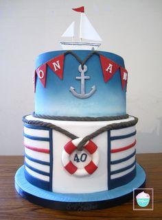 Cake by SugarPocket Nautical Birthday Cakes, Nautical Cake, Birthday Cakes For Men, Nautical Party, Cupcakes, Cake Cookies, Cupcake Cakes, Ocean Cakes, Beach Cakes