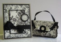 Card and Gift Card Purse created by Lianne Carper using the Elements of Style stamp set by Stampin' Up! to create a toile look.