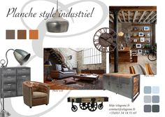 florence_albert_planche_deco_industriel Industrial Living, Industrial Style, Rustic Lake Houses, Style Loft, Style Deco, Interior Concept, Decoration, Florence, Inspiration
