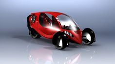 Electric tricycle - Concept of a three wheels vehicle for two passengers.