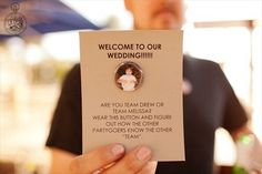 Bride and Groom team pins. A great way to engage everyone from both sides into conversation! | Ways to Make Your Wedding Unforgettable