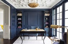 Modern Ideas For Your Home Office Navy A Rich Wall Color Can Complement An Otherwise Neutral Palette. at home interior design. interior design for new home. free home design. Interior Design Minimalist, Office Interior Design, Luxury Interior Design, Office Interiors, Office Designs, Contemporary Interior, Medical Office Interior, Ikea Interior, Blue Interiors