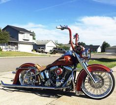 Red and beautiful, his ride is the definition of a two wheeled lowrider. Harley Davidson Chopper, Harley Davidson Street, Harley Davidson Motorcycles, Custom Motorcycles, Custom Bikes, Custom Baggers, Triumph Motorcycles, Chicano, Bobber Bikes
