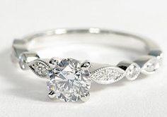 Milgrain Marquise and Dot Diamond Engagement Ring in 14K White Gold #BlueNile