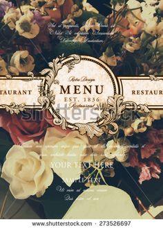 Vintage Floral Card with Flowers. Retro Frame for Restaurant or Boutique Identity Design. Spring Illustration. Summer Elements for Placard, Poster, Invitation, Flyer, Book Cover Design.