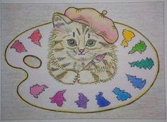ACEO-Original-Mixed-media-Painting-fantasy-funny-animal-cat-kitty-kitten-artist