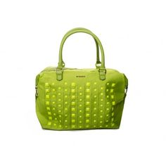 PINKO - Fried boston bag studs detail in nylon and eco-leather lime  - Elsa-boutique.it