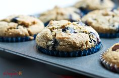 World's Best JUMBO Vanilla Blueberry/Chocolate Chip Muffins Ever (8 ingredients, GF, Oil-Free!)