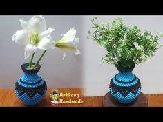 DIY paper flower vase tutorial home decoration | 3d origami flower vase v22 - YouTube